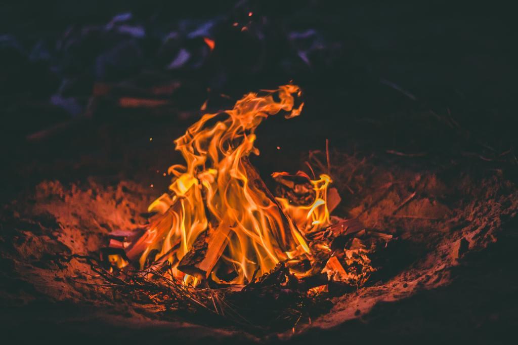 Blazing campfire at night